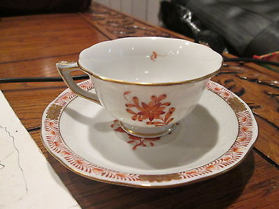 Genuine Herend Porcelain Chinese Bouquet Rust Demitasse Cup And Saucer Hungary