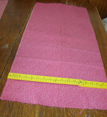 "VINTAGE Antique 19th Quilt Cotton PINK RED CALICO Fabric 37"" LONG BY 35"" WIDE"