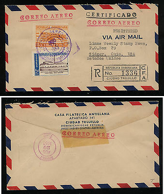Dominican Republic registered cover to Linns stamp news  1953        KL0404