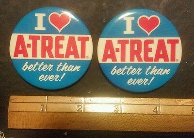 VINTAGE 70's A-treat SODA button pin back metal, mint condition Rare Collector's