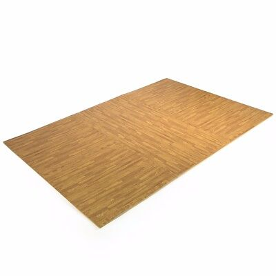 24 Sq Ft Interlocking EVA Foam Floor Mat Puzzle Tiles Wood Grain Gym Exercise