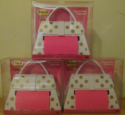 Lot of 3 Post-it Pop-up Note Dispensers ~ White Purse W/ Gold Polka Dots NEW