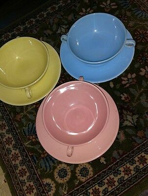 LURAY PASTELS set of 3 Cream Soup Bowls Saucers w/Handles Footed Green Pink Blue