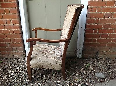 Arts And Crafts Beechwood Framed Armchair With Button Detailing