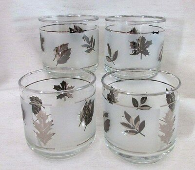 """Vintage Libbey SILVER LEAF Lowball Tumblers, Frosted, 3 1/4"""", Set of 4, Barware"""