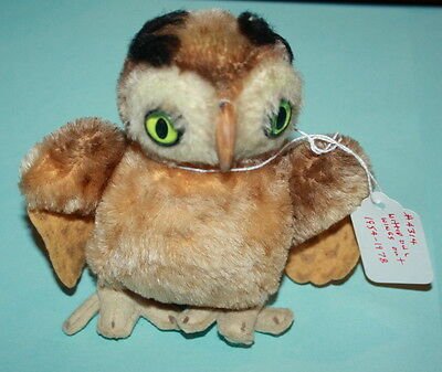 Vintage Mohair Glass Eyes Steiff Witti Owl Toy 5 Inches Tall