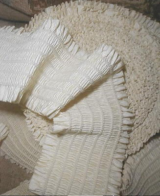 "3 YDS Antique French 3"" W Dble Ruffle Smocked Ribbon,Cream,Wedding Millinery VG"