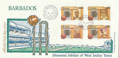 (02359) Barbados FDC Cricket Westindische Inseln Tours 6 Juni 1988