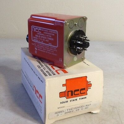 NCC T1K-30-467 Solid State Timer Timing Relay 24 vac .3 to 30 seconds NOS