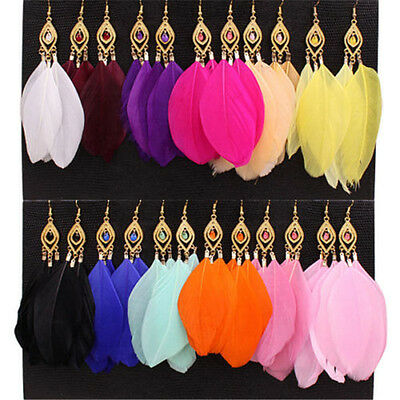 1Pair Fashion Women Jewelry Handmade Earrings Goose Feather Dangle Eardrop Hook