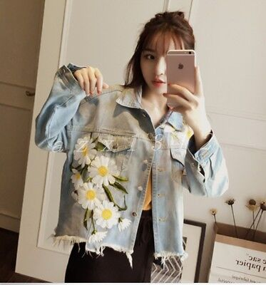Ladies Womens Floral Ripped Denim Jean Casual Outwear Short Loose Coats Jackets