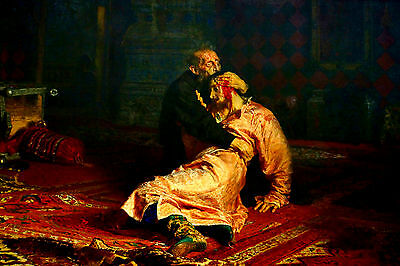 Handmade Oil Painting repro Ivan the Terrible and His Son Ivan on November 16th