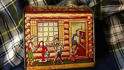 Vintage Log cabin tin towle's general foods 2lbs 1 oz clean tin! family scene!
