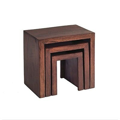 Aron Dark Mango Eco Wood Handcrafted Furniture Nest Set of 3 Tables Nested