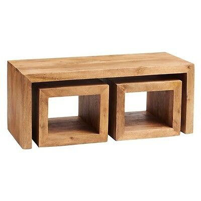 Aron Light Mango Eco Wood Handcrafted Furniture Nest of Cubed Coffee Table Set