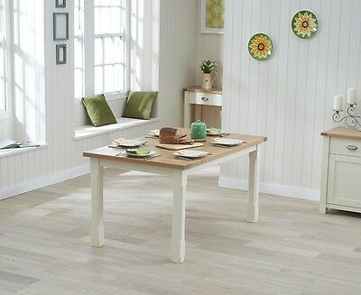 Banbury Painted Cream and Oak Wooden Furniture 130cm Dining Table seats 4-6