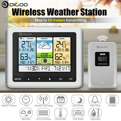 Digoo Wireless COLOR LCD Temperature Humidity Weather Station Barometer & Sensor