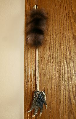 """Alligator Foot/claw Back Scratcher-Real/genuine-19"""" Long On Stick-Raccoon Tail"""