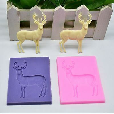 3D Fondant Cake Mold Decorating Baking Mould Deer Elk Shape Silicone Molds