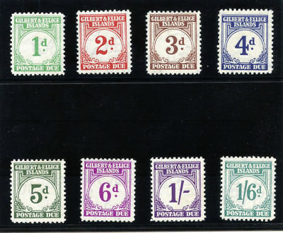 Gilbert & Ellice Is 1940 KGVI Postage Due set complete MLH. SG D1-D8. Sc J1-J8.