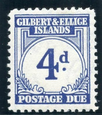 Gilbert & Ellice Is 1940 KGVI Postage Due 4d blue MLH. SG D4. Sc J4.