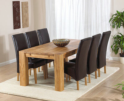 Texas solid oak furniture extending dining table with 6 Roma chairs set
