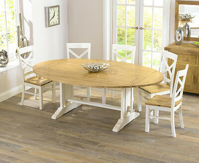 Farmhouse solid oak cream oval extending dining table and 8 Cavanaugh chairs set