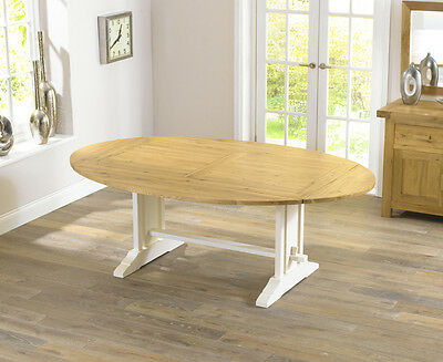 Farmhouse solid oak furniture cream oval extending dining table