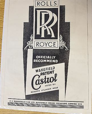 Rolls Royce Advertising Print Castrol Motor Oil 1935