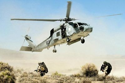SH-60 Seahawk Helicopter Drops Navy Seals 8x12 Silver Halide Photo Print