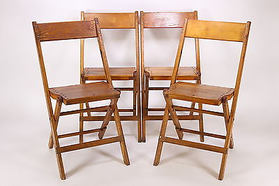 4 Wooden Folding Chairs Snyder Chair Co Inc Made In USA Bonneautville, PA