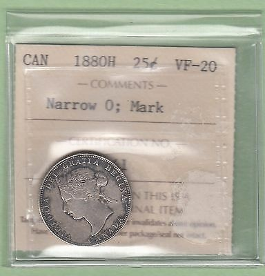 1880-H Canadian 25 Cents Silver Coin - Narrow 0 - ICCS Graded VF-20
