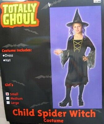 Child's Spider Witch Halloween Costume, Large 8-12, NEW UNUESED