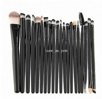 20 pennelli professionali per Make Up Cosmetic Brush Set Kit nero