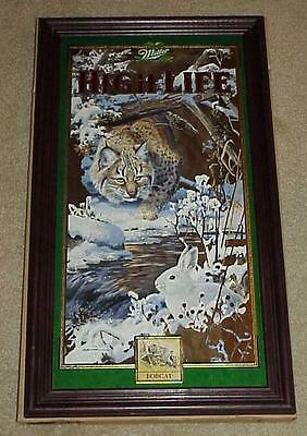 MILLER Beer 4th Series BOBCAT w/ RABBIT Wildlife Hunting MIRROR (Mint In Box!)