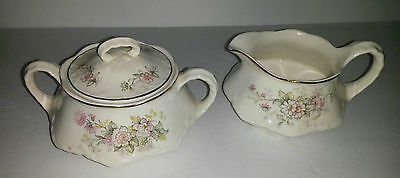 Homer Laughlin Republic Shape Pink Yellow Floral Gold Trim Creamer Covered Sugar