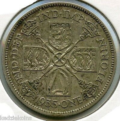 Great Britain 1935 Silver Coin - One Florin - King George V - KR603