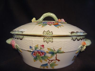 """Herend Covered Vegetable Dish Bowl Hand Painted Raised Molded Flowers 11 1/2"""""""