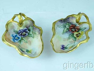 2 Antique Hand Painted RS Germany Nappies Gold Gilded Artist Signed Pansies