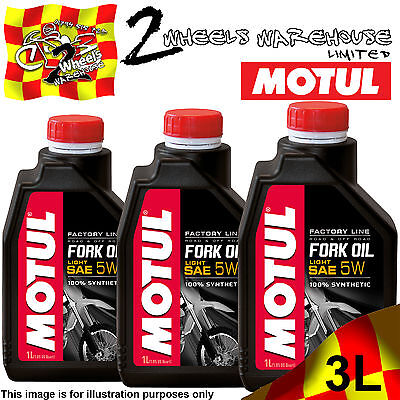 3x 1L MOTUL FACTORY LINE 5W LIGHT FORK FULLY SYNTHETIC SUSPENSION HYDRAULIC OIL