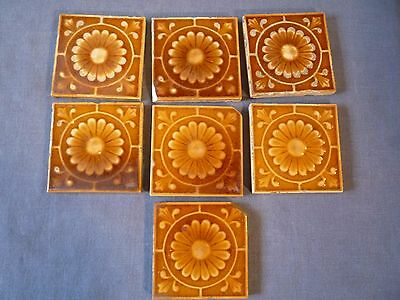 7  Antique HAMILTON OHIO brown DAISY  pattern SEWER  tiles  old SALVAGE
