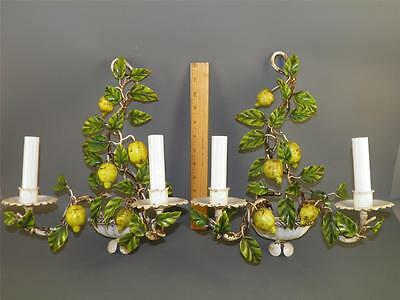 VINTAGE ITALIAN TOLE LEMON BRANCH WALL LIGHT SCONCES Electric 14''High Marked