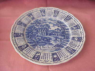 Alfred Meakim Staffordshire England Hand Engraving Plate Calendar 1973 God Bless