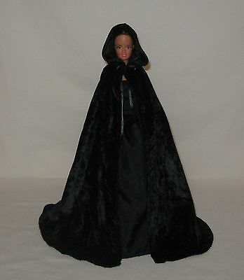 "Handmade Black Velvet Panne Barbie or 11 1/2"" Doll Cape"