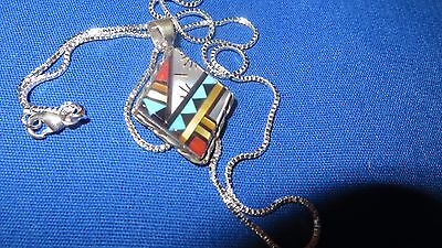 ZUNI Hand Crafted Turquoise Sterling Silver Pendant Necklace Clutus Boone