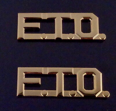 """FTO Gold 1/2"""" Lettering/Letters Pair Collar Pins (police/sheriff) Pair F.T.O."""