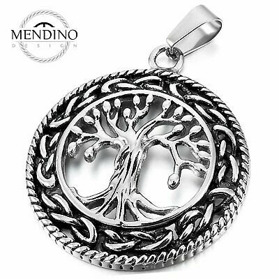 MENDINO Men's Stainless Steel Pendant Chain Necklace Celtic Tree of Life Silver
