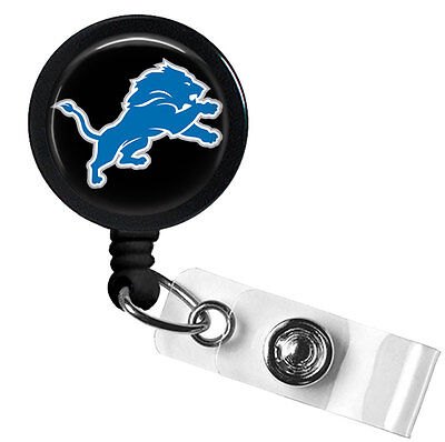 Retractable Badge Reel Name Tag ID Pull Clip Holder Lanyard Detroit Lions Gift