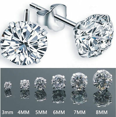 Fashion Women Silver Plated Round Cubic Zirconia Crystal Stud Earrings Jewelry
