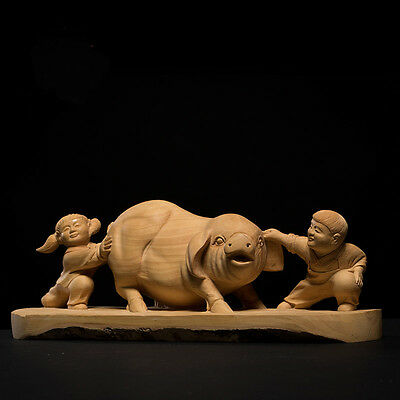 D040 - 27*8*10 CM Detailed Carved Boxwood Carving - 2 Kids Playing with Pig
